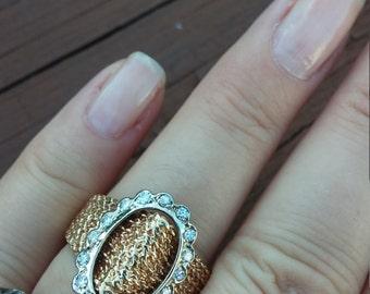 14k Gold Diamond Buckle Vintage Ring 9.2 Grams