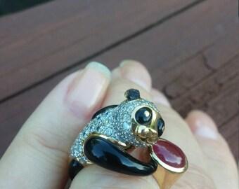 18k Gold Diamond Ruby Black Enamel Panda Ring 12.6 Grams