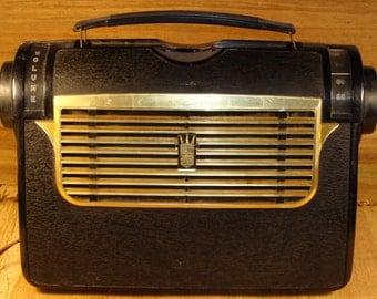 Rare Vintage Zenith 1953, Model J504-Y Portable Tube Radio AM multibandes  Mid Century Tube Radio AC- DC Lunch Box Style With Manual.