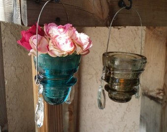 Glass Insulator Hanging Outdoor Decor with Chandelier Crystals