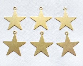 6 Raw Brass Star Pendants