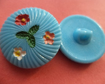 9 glass buttons light blue 18 mm 23 mm (6697 5943) button flowers