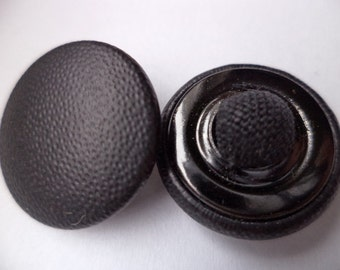8 leather buttons buttons 21 mm (2804) black leather button