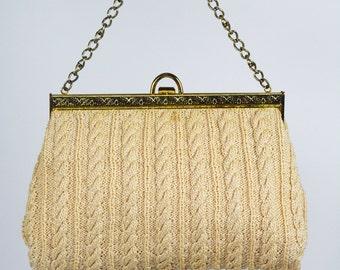 1940's/50's Knit/Crochet Handbag with Brass Chain Handle