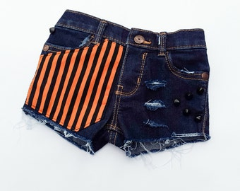 Orange & Black Striped Denim Studdes Shorts