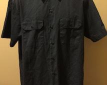 Dickies Large Mens short sleeve Button Up Grunge Garage work shirt Color Gray