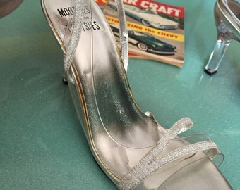 VLV Strappy Glitter Pumps with Lucite look Heels
