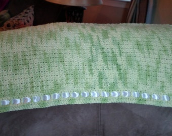 Crocheted Baby Blanket - Green with White Ribbon
