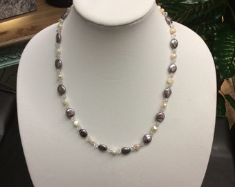 Coin pearl necklace, Silver necklace, cultured freshwater pearl necklace, necklace with white pearls and crystal