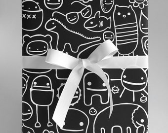 Happy Friend Time Black Wrapping Paper - Set of Two
