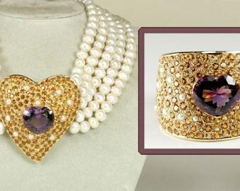 De Michele Jewels - Magnificent Set! 18K, Amethyst, Citrine, Pearls