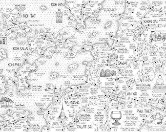 Trip to Thailand - hand-drawn map