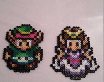 Zelda and Link 8bit perler pixel art