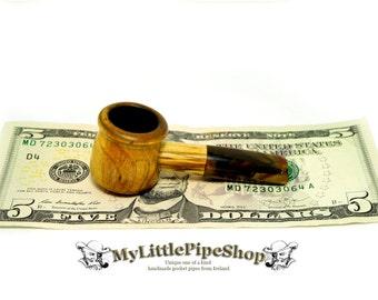 Irish blackthorn wood pocket herbal tobacco pipe