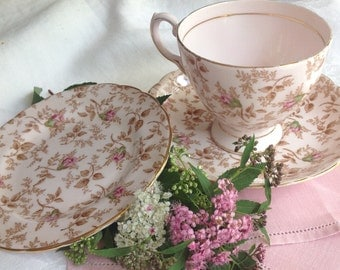 Pink Chintz Tuscan Floral Tea Cup, Saucer & Side Plate, Vintage, Teacup Trio in Mostly Pink, Beige, Green,  Fine English Bone China, 1940's