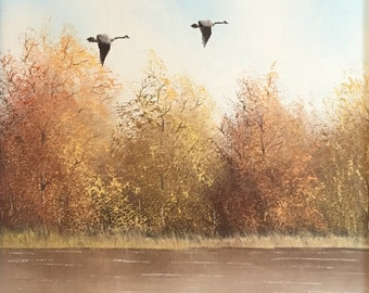 Original Fall Landscape Painting - Oil on Canvas by Listed Artist, Bruce A. Hume