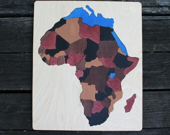 Africa Wooden Map Puzzle, Handmade, Wooden Name Jigsaw Puzzles