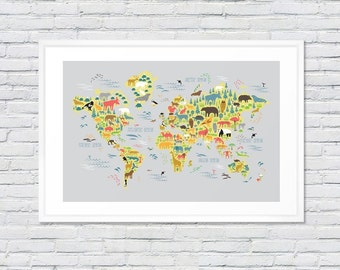World Animal Map - Nursery Art Illustration