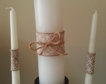 Unity candle set, rustic unity candle with burlap wedding candles