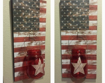 Red,White, and Blue Pallet Wall Hanging jar