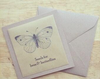 Wildflower seed greetings card butterfly