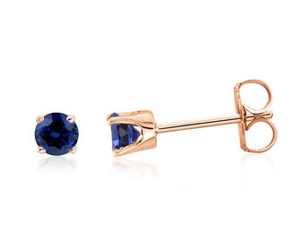 14K Rose Gold Genuine Blue Diamond-Cut Sapphire Gemstone Stud Earrings .20ct - 3mm Round Top Blue Color - September Birthstone