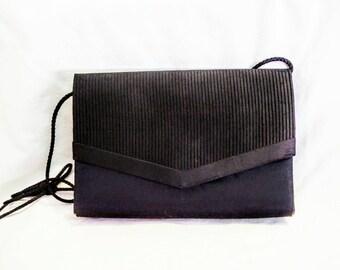 La Regale Black Satin Evening Bag with Long Strap