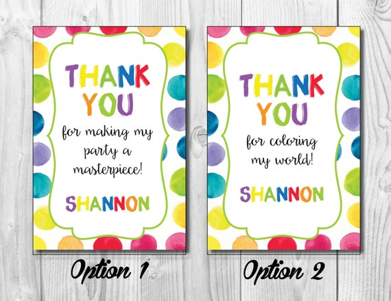 Paint Party Thank You << Art Birthday Party Thank You >> Thank You Note >> Gift Tag >> Party Favor Tag >> Custom Printable Digital File