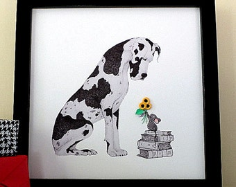 Great Dane Artwork - Baby Mouse and 3D Sunflowers - Dog Art Print of Pencil Drawing - Dog Lovers Gift - Great Dane Lovers Gift Idea