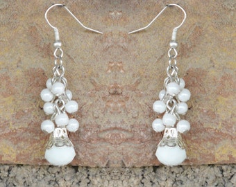 White and Silver Cluster Dangle and Drops Earrings