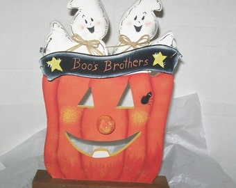 """Halloween Ghostly Couple Wood Decoration """"Boos Brothers"""""""