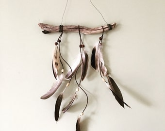 Feather driftwood wall hanging with leather cord and beads