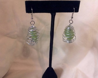 Green Wire Wrapped Drop Dangle Earrings