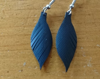Black Rubber Feather Earrings -  - Upcycled Jewelry