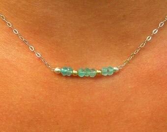Aquamarine in 925 Silver necklace