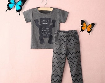Adorable monster shirt and pants set! size 18-24 months!