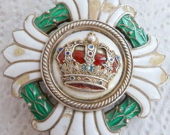 An unusual Silver and Enamel Crown Badge/medal - 1929