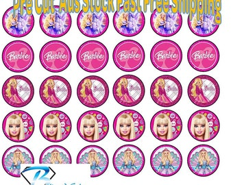 30x Barbie Cupcake Toppers Wafer or Icing 35mm Cake Decorating v4
