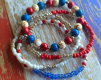 Red, white and blue glass bead bracelet set of 4