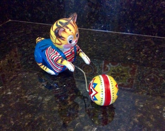 Vintage Tin Wind-Up Cat Playing with Ball Mechanical Toy- 1950's - Made in Japan