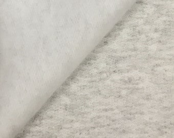 Soft Cotton Fleece Fabric By the Yard ( Wholesale Price By the Bolt) USA Made Premium Quality - 5520H1 Heather Grey - 1 Yard