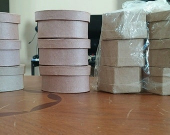 Unfinished paper mache boxes to paint,decorate embellish, 12 Pieces, Oval and Hexagon Boxes