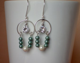 Sterling Silver and Hemalyke Beaded Earrings