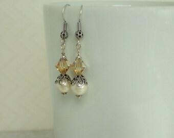 Ivory Hemalyke and Swarovski Crystal Beaded Earrings