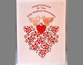Special Wishes Large Ruby Anniversary Doves Card SW WE05