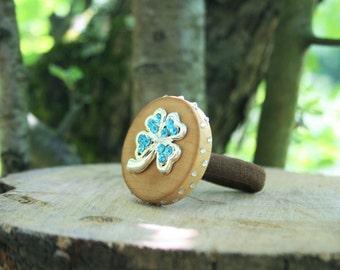 Sale!!! Lucky clover, wooden scrunchy, wooden jewelry, scrunchy wood, natural, elastic scrunchy, beech wood, eco scrunchy, hair jewelry