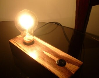 Wood Block, Steampunk / Mancave, table / bedside lamp.