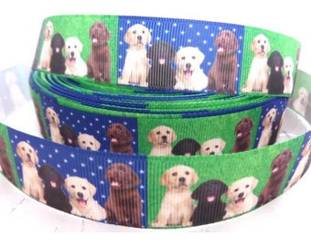 1m Fabulous Dogs Labrador Puppies Grosgrain Ribbon 22mm hair bows bands cake gift wrap scrapbook dummy clip holder