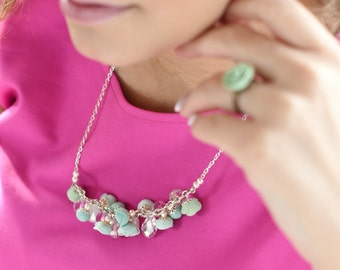 Mint Roses Necklace