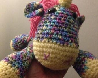 Handmade crocheted unicorn